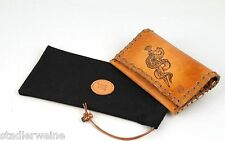 MR Bolsa para tabaco Snake/Bolsa de tornero/15,5 cm/Cuero marrón Antigua/