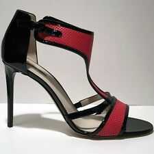 $925 Giorgio Armani Women's Red 7 37 Leather Fashion Ankle T-Strap Heels Pumps