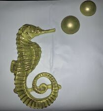 Large Seahorse Vintage Ceramic Hanging Wall Plaque With Two Hanging Bubbles