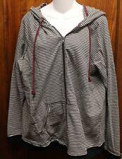 MAURICES Black White Burgundy Striped Hoodie Sweatshirt 1 1X