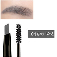 Fashion 2 in 1 Eyebrow Pencil Eyeliner Pen Brow Cream Pomade With Brush Beauty Gray Black