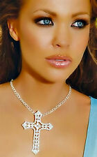 Silver Rhinestone Cross Adjustable Necklace Fashion Jewelry 0656