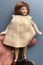 "Early Antique All Bisque French or German Mignonette 4 1/2"" Dollhouse Doll"