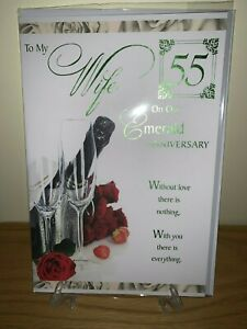 Emerald Wedding Anniversary for Wife Green Foil Quality Card Celebrate 55 yrs
