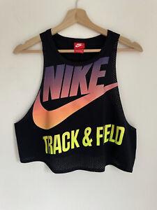Nike Womens Vintage retro Black neon ombre logo cropped mesh vest top Size M