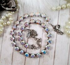 """Cup chain necklace/Swarovski crystals/""""Crushed Ice""""/Crystal AB necklace"""