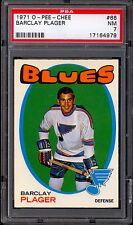 1971 72 OPC O PEE CHEE HOCKEY #66 BARCLAY PLAGER PSA 7 N-MINT ST LOUIS BLUES