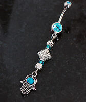 Jewish Hamsa Hand Evil Eye Turquois CZ Charm Dangle Navel Belly Button Ring 14g
