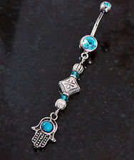 Jewish Hamsa Hand Evil Eye Turquois CZ Charm Dangle Navel Belly Button Ring 14g