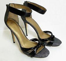 7376a6b238d5 Belle Badgley Mischka Women s Size 7 1 2 M Blk Silver Ankle Strap Open