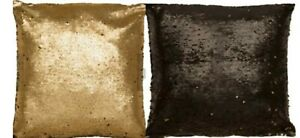 2x Sass & Belle Sequin gold/black colour changing filled Cushions 40x40cm