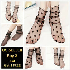 Women Fishnet Mesh Lace Ruffle Socks Sheer Silky Glitter Short Ankle Stockings