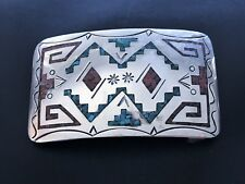 Sterling Silver Native American Turquoise Coral Chip Inlay Belt Buckle 49