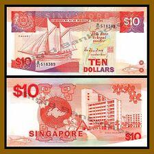 Singapore 10 Dollars, 1988 P.20 Trader Vessel PALARI Unc