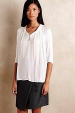 NWT Sz L Anthropologie Lucille Tie-Neck Tee Top by Dolan Size Large Ivory Blouse