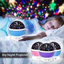 Proyector Estrellas Luna Cielo Lámpara Nocturna LED para Habitación Bebés Niños