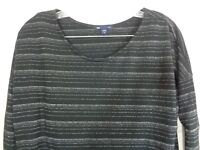 Gap Women's Knit Top Long Sleeve Black Silver Stripe Size Medium
