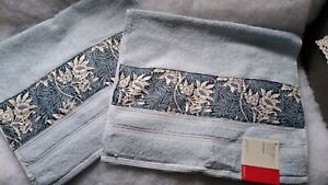 2x John Lewis pale blue Guest Towels With William Morris Tulip & Willow Fabric