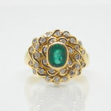 18ct Yellow Gold Emerald & Diamond Cluster Ring with valuation $3,700
