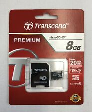 Transcend Premium Micro SD SDHC Flash Memory Card 8GB with Adapter
