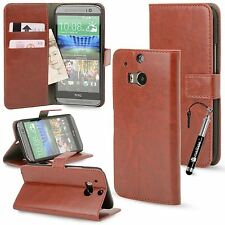 For HTC ONE M8 Distressed Leather Wallet Case Cover w Credit Card Slots