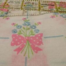 """Pajama flannel lightweight white PINK bow flowers remnant 68"""" x 30"""" blue roses"""
