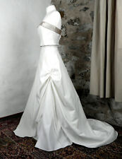 New Ivory and Caramel Satin Two Piece Wedding Dress by Alfred Angelo  Size 8