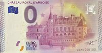 BILLET 0  EURO CHATEAU ROYAL D'AMBOISE  FRANCE  2015  NUMERO 100