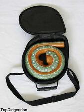 Spiral DIDGERIDOO + Bag Travel Compact snail shell Mahogany Wood Hand Carved Art