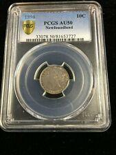 1896  PCGS Graded Newfoundland ¢10 Cent **AU-50**
