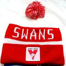 65188 SYDNEY SWANS AFL FOOTBALL ACRYLIC BAR BEANIE WINTER HAT POM POM
