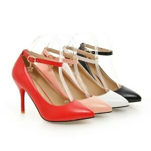 Size 34-47 Womens Ladies Pointed Toe Ankle Strap Court Shoes High Heel Mary Jane