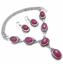 """Ruby 925 Sterling Silver Overlay Girl,s Necklace & Earrings Set Jewelry 20"""" Inch"""