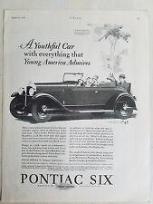 1928 PONTIAC Sport Roadster Convertible Car Dog Riding Original Ad