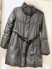 Theory Grey Blue Belted Puffer Down Jacket Size P