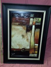"""Large Framed PARSONS signed 34"""" x 24"""" Contemporary Modern Art Abstract Painting"""