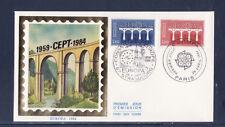enveloppe 1er jour   paire  Europa  Paris   Strasbourg    1984