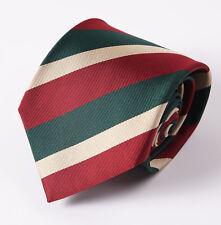"""New E.MARINELLA NAPOLI Burgundy-Cream-Green Stripe Classic 3.5"""" Silk Tie"""