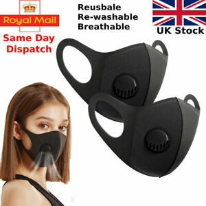 FACE MASK - WITH FILTER VALVE VENT UK SELLER Reusable Breathable Washable Black