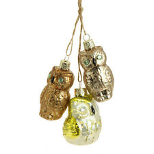 """3323030  7"""" Owl Cluster Glass Ornament Christmas Holiday Forest Bird Gold Copper"""