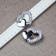 5 unidades-tono plata encanto del diapositiva Corazón con Diamantes de Imitación