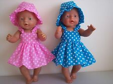 BABY BORN DOLLS CLOTHES PINK/BLUE  WHITE DOTS  SUMMER OUTFIT