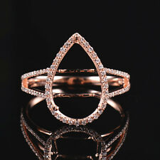 Natural Diamond Ring Semi Mount Settings Pear Cut 15x10mm Solid 14K Rose Gold