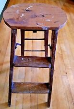 "Wood Ladder Step Stool 2 Wooden Steps Primitive Farmhouse Barn 23"" Vintage"