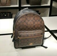 Coach F32200 Signature Coated Canvas Medium Charlie Backpack $350 Black Brown