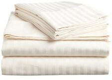 Ivory Striped Queen 4 Piece Bed Sheet Set 1000 Thread Count 100% Egyptian Cotton