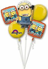 Despicable Me Minion Happy Birthday Party Favor 5CT Foil Balloon Bouquet