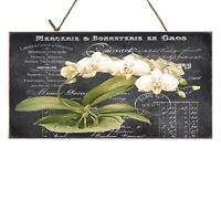 Chalk French Label Orchids Printed Handmade Wood Sign