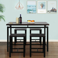5pcs Dining Table Set W/4 Chairs Wood Kitchen Dining Room Table Furniture Black