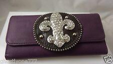 purple bling fleur di lys lis  clutch id credit card wallet